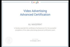 Google Video ad certificate