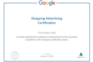 Google Shopping ad certificate