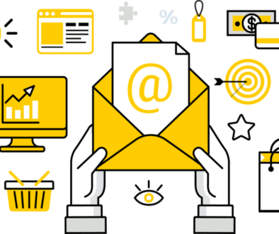 Email marketing yellow color blog graphic